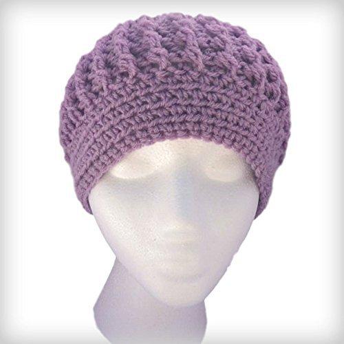 902fd87f65b Amazon.com  Lavender Knit Beanie  Handmade