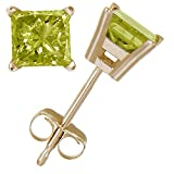 1/2 CT Princess Cut Yellow Diamond Stud Earrings 14k Yellow Gold