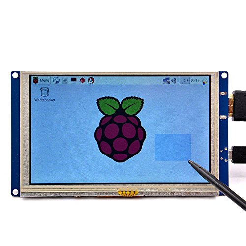 GeeekPi 5 inch HDMI Monitor LCD Resistive Touch Screen 800x480 LCD Display USB Interface for Raspberry Pi 3/2 Model B/B+ & Banana Pi (Plug and Play Free ()