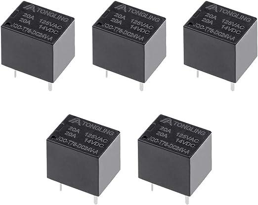 10pc JQC-T78-DC24V-A DC 24V Bobine SPST 4 Broche PCB Relais puissance /électromagn/étique