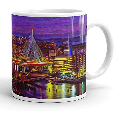 Boston Coffee Mug. Leonard P. Zakim Bunker Hill Bridge at Night. Ltd. Edition Oil Painting Print on Coffee, Tea Cup. Souvenir Mug, Gift Idea For Boston Lover, Men, Women. 11 ounces.