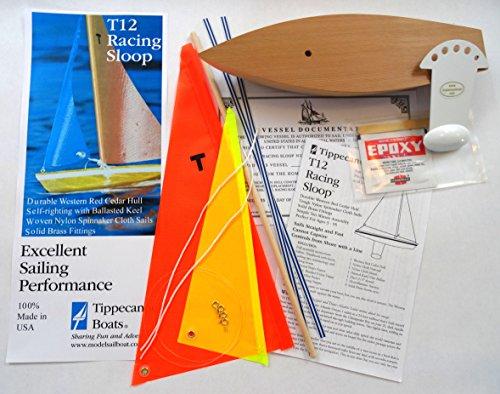 T12 Cruiser Sailboat Kit (Orange/yellow) - Not a Radio Control. Sailing Model Sailboat, Toy Sailboats that Sail, Toy Sailboats that Float, Toy Sailboat Wood, Toy Sailboat Wooden - It Really (Pond Sailboat)