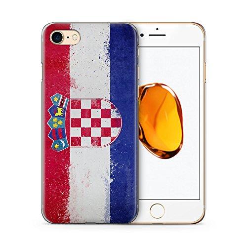 Kroatien Grunge Hülle für iPhone 7 SLIM Hardcase Cover Case Schutz Handyhülle Flagge Flag Hrvastka Croatia