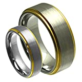 His & Her's 8MM/6MM Tungsten Carbide Gold Plated Step Edge Brushed Satin Finish Wedding Band Ring Set
