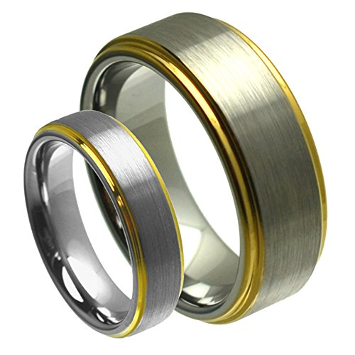 Satin Hers Tungsten (His & Her's 8MM/6MM Tungsten Carbide Gold Plated Step Edge Brushed Satin Finish Wedding Band Ring Set)