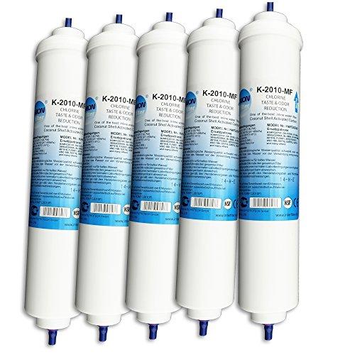 UN-5. 5er Pack UNION Kühlschrankfilter für Kühlschrank Samsung, AEG, LG, Side by Side. Wasserfilter extern. Schlauch Anschluss ist fest integriert.