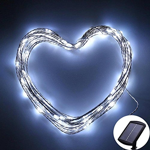 Icicle Solar Fairy Lights, 33ft 100LED Light Sensor Control Flexible Copper Wire Waterproof Decorative Light for...