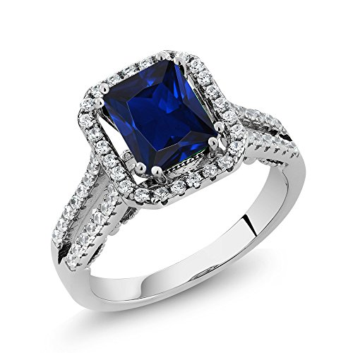 Octagon Blue Sapphire - 3.48 Ct Octagon Blue Simulated Sapphire 925 Sterling Silver Ring
