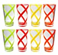 QG Set of 8 Break-resistant 22 oz Helix Stripes Iced Tea Cup w/ Heavy Base Acrylic Plastic Tumbler Set in 4 Assorted Colors 3L132-4C