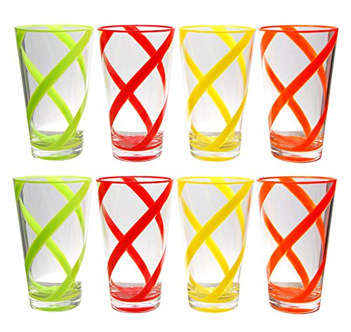 QG Set of 8 Break-resistant 22 oz Helix Stripes Iced Tea Cup w/ Heavy Base Acrylic Plastic Tumbler Set in 4 Assorted Colors (Heavy Base Ice Tea)