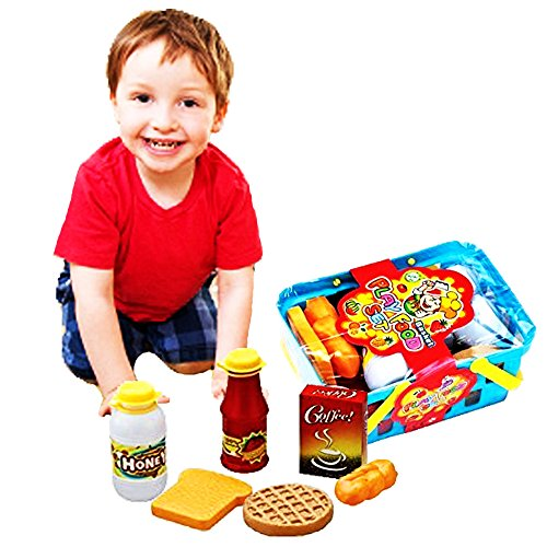 Toy Cubby Pretend Play Grocery Toy Basket with Plastic Food and Drink Set - 10 Pieces/Set