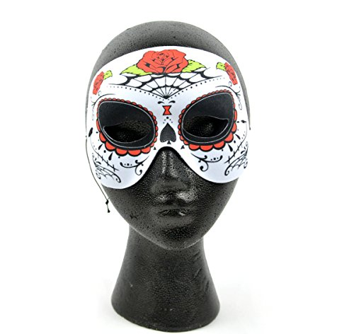 Day Of The Dead Half Mask (MaskIt MAU63 76108 Day of The Dead Spider Web and Rose Half 6-inch)