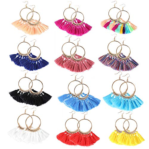 12 Pairs Colorful Tassel Hoop Earrings Bohemia Fan Shape Drop Earrings Dangle Hook Eardrop for Women Girls Party Gifts