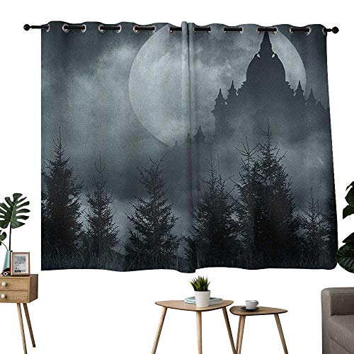 NUOMANAN Thermal Insulated Blackout Curtain Halloween,Magic Castle Silhouette Over Full Moon Night Fantasy Landscape Scary Forest, Grey Pale Grey,Light Blocking Drapes with Liner -