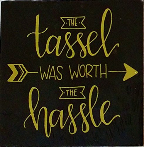 A&T Designs The Tassel Was Worth The Hassle - 3D Table Top/Hanging Plaque Art - Graduation Gift (Black & Gold) ()