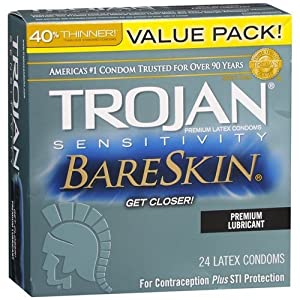 Trojan BareSkin Sensitivity Premium Lubricant Latex Condoms-24 ea by Trojan