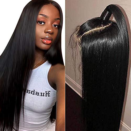 Muokass 4x4 Lace Front Wigs Straight Hair Brazilian Virgin Human Hair Lace Closure Wigs For Black Women 150% Density Pre Plucked With Elastic Bands Natural Color (18 inch