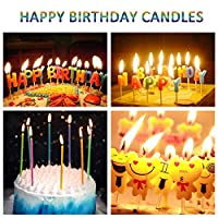 WanJ Birthday Candles, 40 Count Party Cake Candles - [Long Thin Metallic Rainbow] for Celebration Party Wedding Anniversary Birthday Essential Occasions Cake Decorations