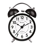 HENSE Classical Retro Twin Bell Mute Silent Quartz Movement Non Ticking Sweep Second Hand Bedside Desk Analog Alarm Clock with Nightlight and Loud Alarm HA01 (Black)