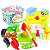 Toy Food, Hmane Kitchen Vegetable Pattern Pretend Play Cutting Food Toy Set Children Early Development with Portable Basket Color Random - (type 1)