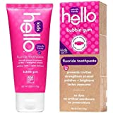Hello Natural Fluoride Toothpaste for kids, Bubble Gum, 4 oz - 2pc