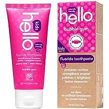 Hello Natural Fluoride Toothpaste for kids, Bubble Gum, 4 oz - 2pc