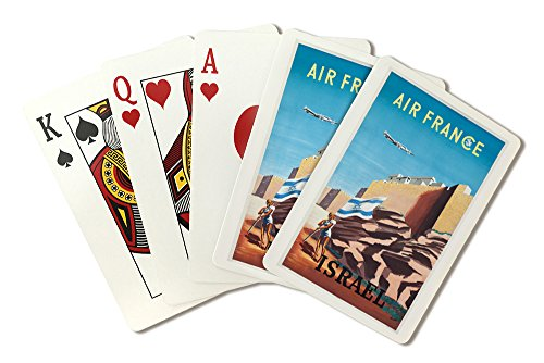 air-france-israel-vintage-poster-artist-renluc-france-c-1949-playing-card-deck-52-card-poker-size-wi