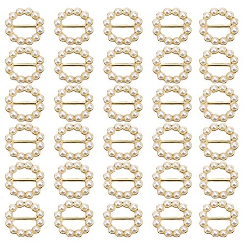 JETEHO 30Pcs Round Faux Pearl Metal Buttons Wedding Ribbon Slider for Wedding Invitations, Card Craft ()