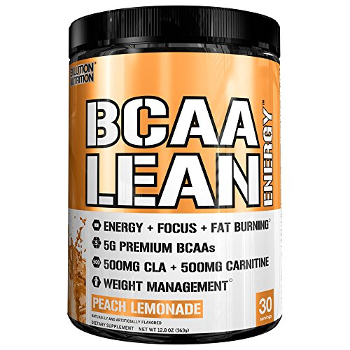 Evlution Nutrition BCAA Lean Energy – Energizing Amino Acid for Muscle Building Recovery and Endurance, with a Fat Burning Formula, 30 Servings Peach Lemonade