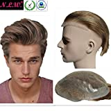 NLW Blonde hair Toupee for men light color Hair pieces for men European virgin human hair replacement system for men, 10'' x 8'' blonde color human hair toupee men hair piece for white men.
