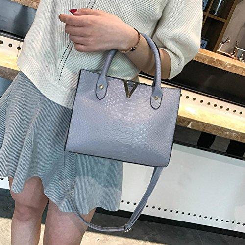Bag fashion Women's leather Pattern shoulder Shoulder Gray crocodile bag GINELO Handbag Alligator wwxgz