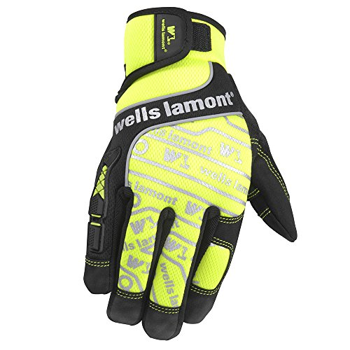 (Wells Lamont High Visibility Synthetic Leather Work Gloves, Large (7674L))