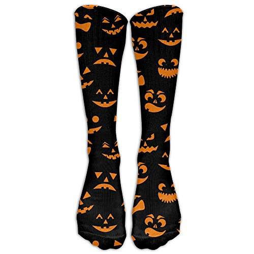 LBLOGITECH Orange Halloween Pumpkins Carved Faces Casual Novelty Calf High Athletic Sock Outdoor Gift