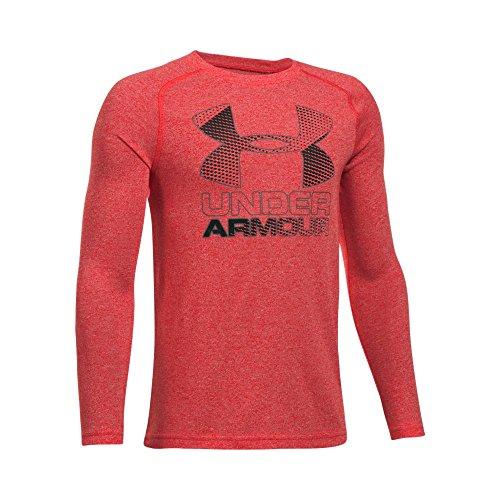Under Armour Boys' Hybrid Big Logo Long Sleeve T-Shirt, Red/Black, Youth Medium