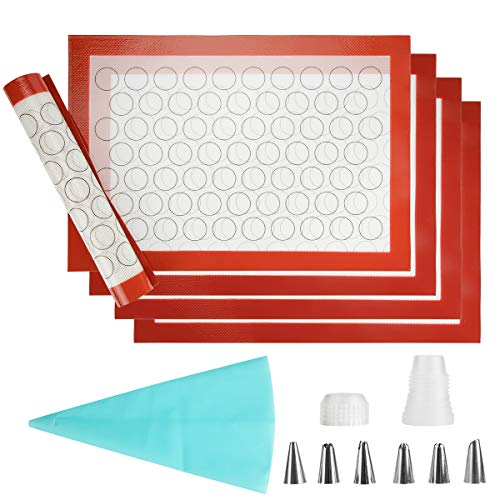 Silicone Baking Mat Sheet Set - Set of 5 Sheet Cooking Mat Non-Stick Trays & Rolling Macaron Cake Bread Making Professional Grade Silicone Liners for Microwave Toaster Oven Tray Pan Thick Large Size