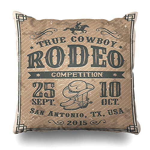 (DIYCow Throw Pillow Covers Bucking Western American Cowboy Rodeo Vintage Sports Competition Recreation Country Texas Bull Farm Home Decor Pillowcase Square Size 20 x 20 Inches Zippered Cushion Case)