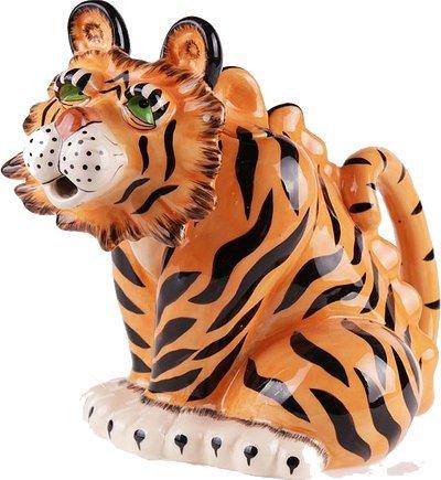 """Blue Sky Clayworks Figural Tiger Teapot 9"""" L 13054"""