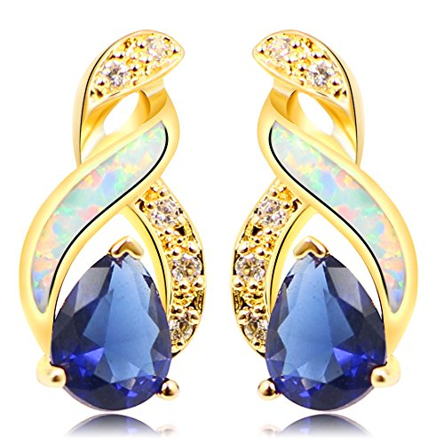 (Sinlifu Women's White Fire Opal Tanzanite Sapphire Topaz Silver Plated Stud Earrings)