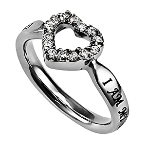 I Am My Beloved and He Is Mine CZ Open Heart Ring Silver Stainless Steel With Verse