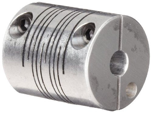 Ruland MWC20-6-5-A Clamping Beam Coupling, Polished Aluminum, Metric, 6mm Bore A Diameter, 5mm Bore B Diameter, 20mm OD, 28mm Length, 1.15 Nm Nominal Torque by Ruland