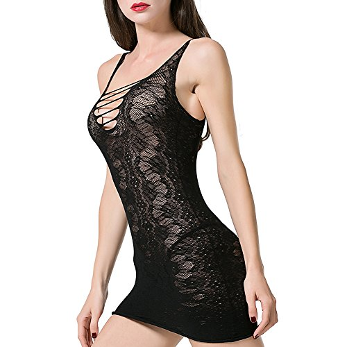 Beutii Women Sexy Lingerie Crotchless Fishnet Teddy Plus Size Bodystocking Mesh Chemise Dress Bodysuits by Beutii (Image #3)