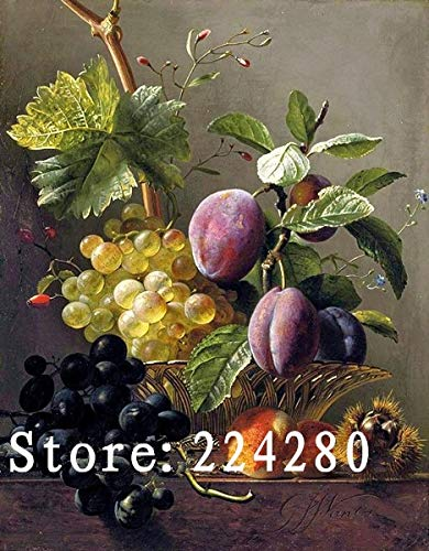 Univas Needlework Crafts 14CT unprinted Embroidery Fruit DMC Quality Counted Cross Stitch Kits Set Oil Painting Plum Fruit and Chestnut
