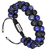 murtoo Mens Bracelet Natural Healing Stone 2 Layer Beads Bracelet Braided Wrap Adjustable, 7''-9'' Gift for Man - Blue,8 MM