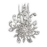 Slendima Exquisite Shiny Rhinestone Leaf Tuck Comb Women Hairpin Bridal Hair Clip Wedding Gift Silver
