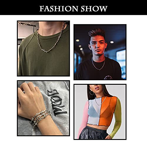 Punk Thorns Necklace Gothic Barbed Wire Chain Hiphop Rock Jewelry for Men Boys Women