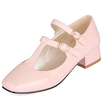 71b95a186d50 Women s Causal Patent PU Leather Ankle Strap Mary Janes Block Mid Heel  Pumps Shoes Dress Shoe