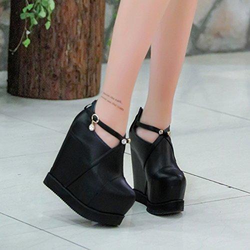 XiaoGao Extra high heels, fondo grueso zapatos, 15 cm de durmientes, los zapatos de cuero.