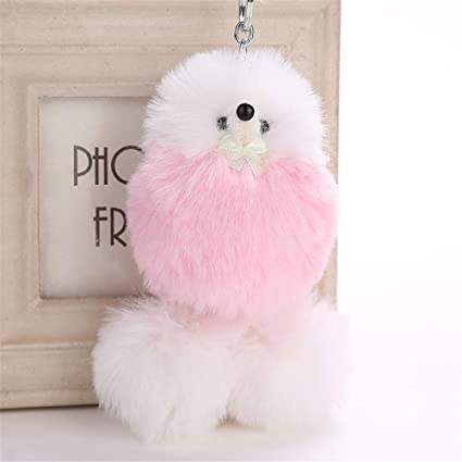 Cute Fluffy Dog Keychain Ball Pendant for Girls Women, Key Pompoms Key Chains Ring for Cell Phone Schoolbag Handbag Shoulder Bag Pendant Charms,1Pcs ...