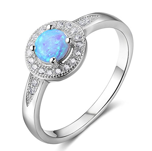ACEFEEL Blue Opal 925 Sterling Silver Engagement Wedding Band Rings For Women With Cz halo