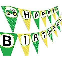Green Tractor Happy Birthday Banner Pennant - Farm Banner - Tractor Decorations